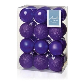 24 Pack of 60mm baubles Various colours