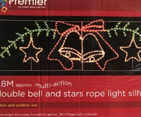 1.8M Double bell and stars rope light silhouette