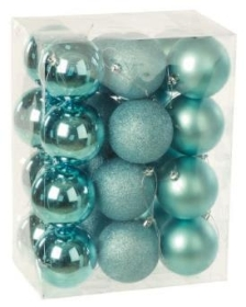 24 pack of 80mm baubles   Various colours